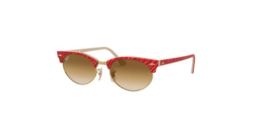 Ray-Ban Clubmaster Oval RB3946 130851 Wrinkled Red on Beige
