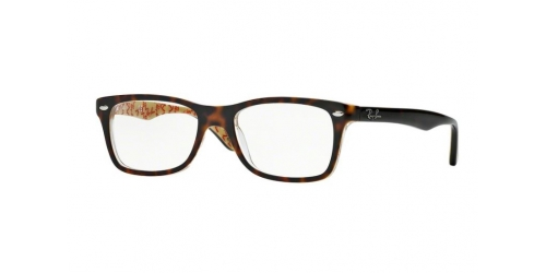 Ray-Ban RX5228 5057 Dark Havana on Beige Text