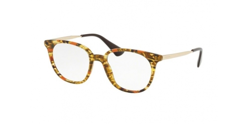 Prada PR13UV PR 13UV KJN1O1 Striped Brown/Orange
