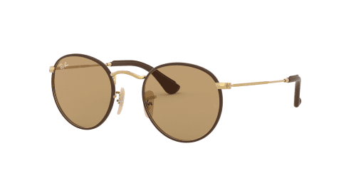 Ray-Ban ROUND CRAFT RB3475Q RB 3475Q 112/53 Matte Arista/Brown Leather