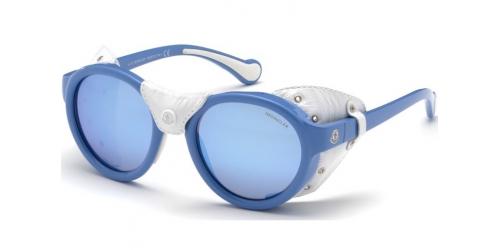 Moncler ML0046 84C Shiny Light Blue/Smoke Mirror