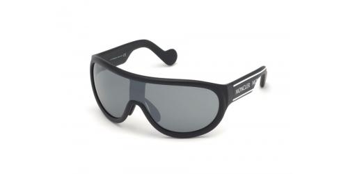 Moncler ML0106/S ML 0106/S 01C Shiny Black/Smoke MIrror